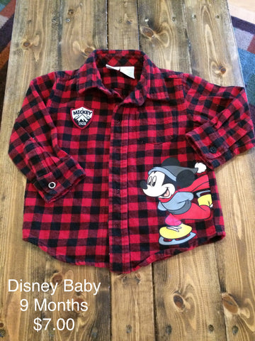 Disney Baby Mickey Mouse Long Sleeve Button Down Shirt