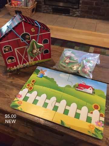 Farm Puzzle with Wooden Animals