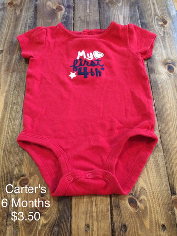 "Carter's ""My First 4th"" Girls Short Sleeve Onesie"