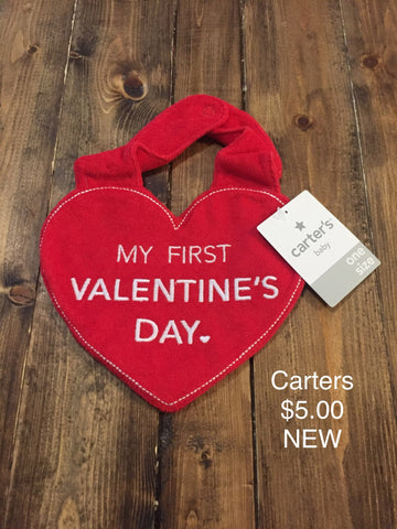 "Carter's ""My First Valentine's Day"" Heart Shaped Bib"