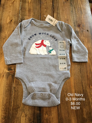 "Old Navy ""Snow Much Love"" Long Sleeve Onesie"