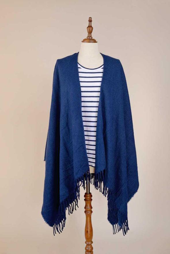 Navy Poncho Limited Edition Fashion Hello Friday Dunedin