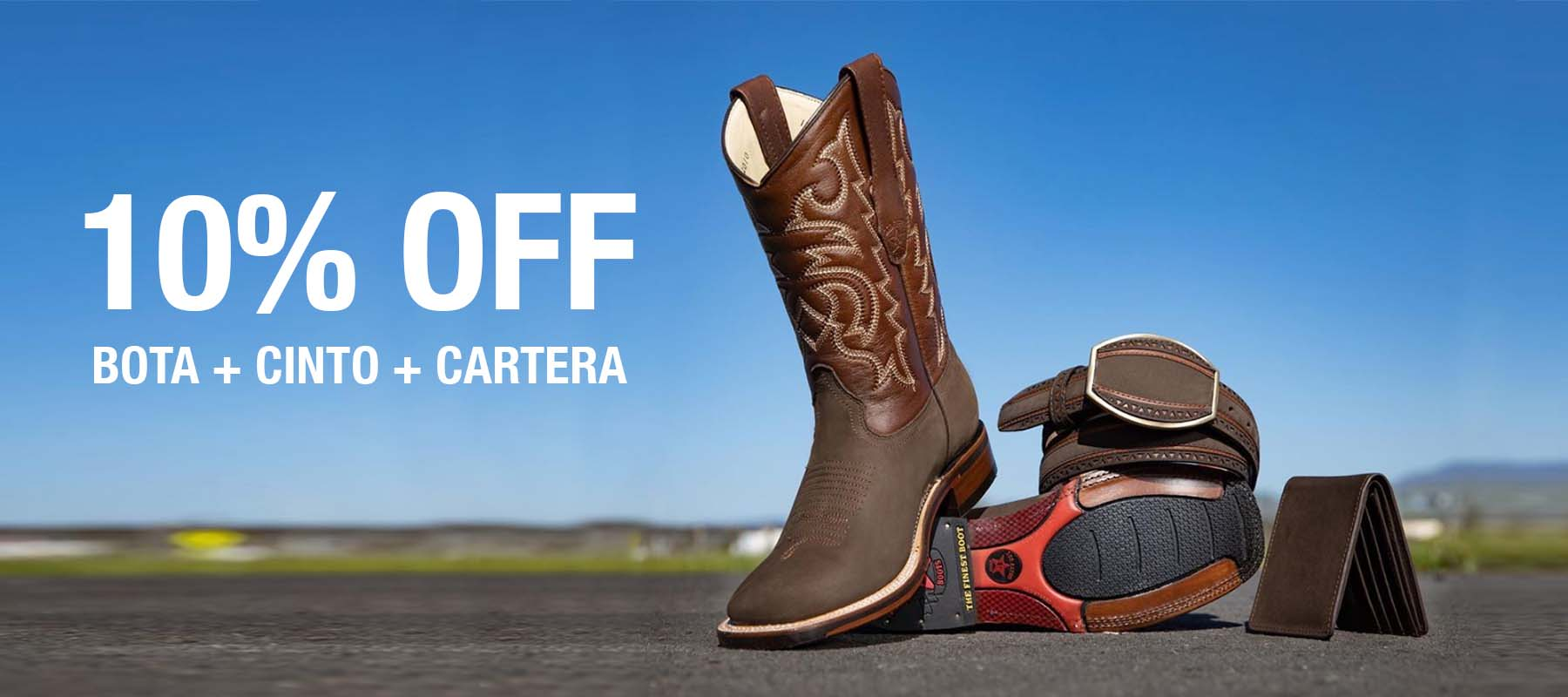 10% OFF | Botín + Cinto + Cartera