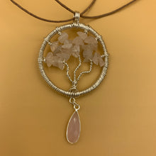 Load image into Gallery viewer, Necklace, Tree of Life, Silver with Rose Quartz Stone