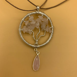 Necklace, Tree of Life, Silver with Rose Quartz Stone