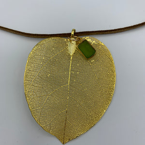 Necklace, natural leaf, immersed in gold