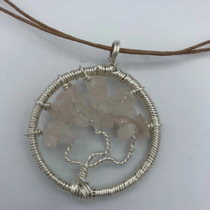Necklace, Tree of Life, Rose Quartz