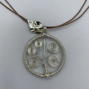 Necklace, Tree of Life, Silver with Silver Leaf
