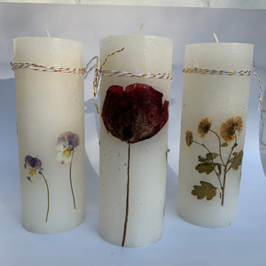 Candle with Natural Dried Flowers - handcrafted - bundle of 3