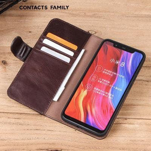 Applicable to Xiaomi mobile phone sets leather flip card card in one xiaomi8 youth version of the anti-fall mobile phone holster