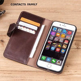 iPhone mobile phone case leather Applicable iphone7/8 multi-function zipper coin purse anti-fall leather mobile phone holster