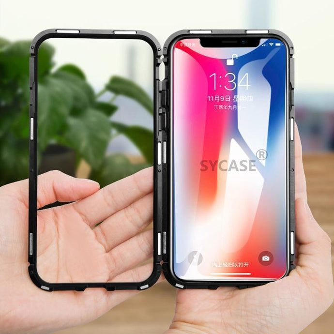 Luxury Magnetic Metal Aluminum Alloy Transparent Glass Cover Phone Case For HUAWEI Honor 10lite/P Smart 2019