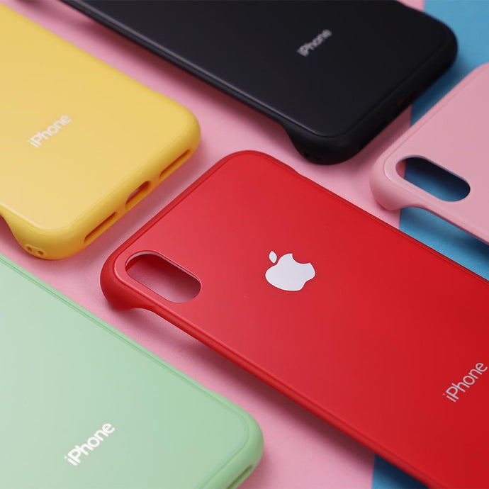 Candy-Colored Glass Back Phone Case with Apple Logo for iPhone