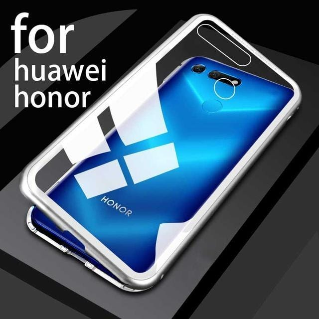 Luxury Magnetic Metal Aluminum Alloy Transparent Glass Cover Phone Case For HUAWEI Honor8x/max/Honor10lite/9i/v10/v20/Honor play
