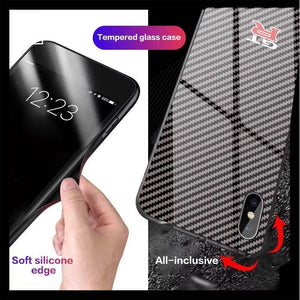New carbon fiber painted glass mirror anti-drop mobile phone case for iphone6/6S/6Plus/7/8/7Plus/8Plus/X/XS/XR/XSMAX