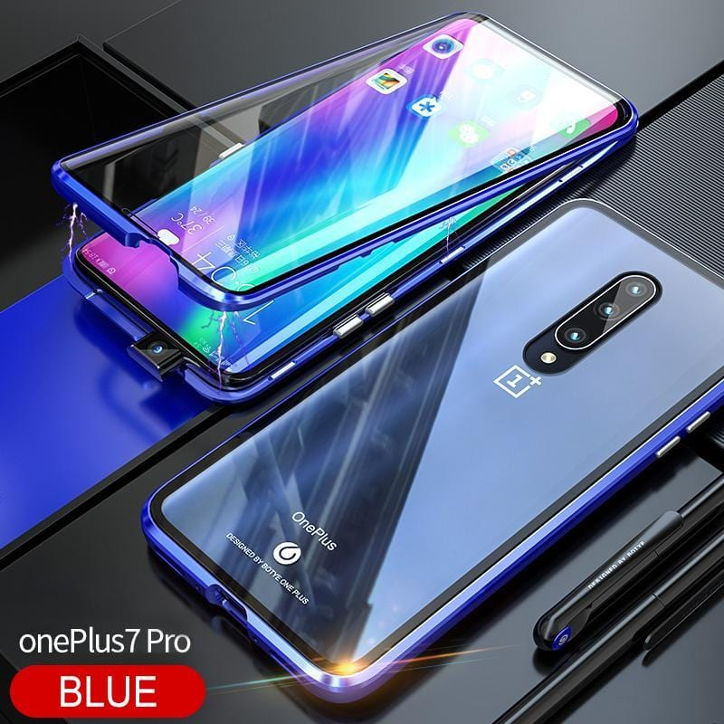 Luxury Full Body Protective Magnetic Case For 360 Transparent Tempered Glass Back Cover One plus7Pro Case