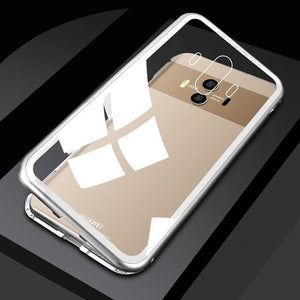 Luxury Magnetic Metal Aluminum Alloy Transparent Glass Cover Phone Case For HUAWEI v10/v20