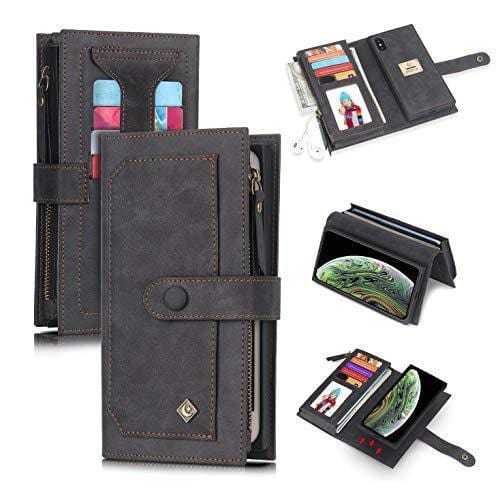 POLA iphone Wallet Case , Leather Zipper Purse Detachable Magnetic 10 Card Slots Money Pocket Clutch Protection Back Cases Cover