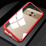 Luxury Magnetic Metal Aluminum Alloy Transparent Glass Cover Phone Case For HUAWEI 9i