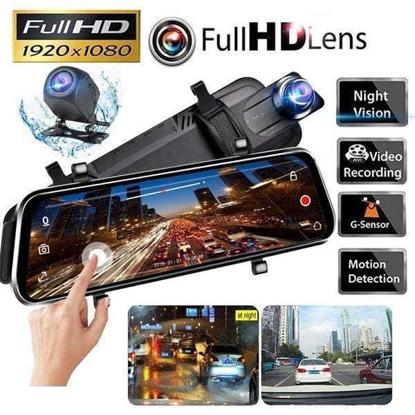 "10"" Full-Screen LCD Rearview Mirror,1080P HD Front And Rear Car Recorder"