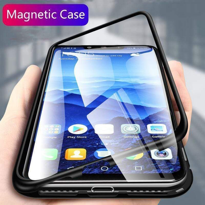 Huawei Mate 20/Pro/Lite/X Metal  Magnetic Adsorption Frame Clear Tempered Glass Phone Cases