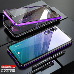 Magnetic Adsorption Transparent Tempered Glass Two side Glass Cover Phone Case For HUAWEI P20/Pro