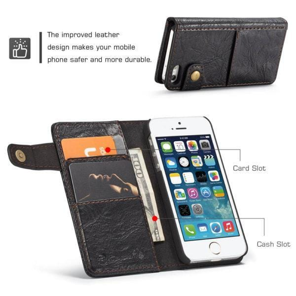 iPhone SE/5S Retro Card Slots Wallet Leather Case