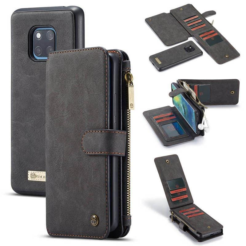 CaseMe Huawei Mate 20 Pro Zipper Wallet Case Magnetic Detachable 2 in 1 Back Cover