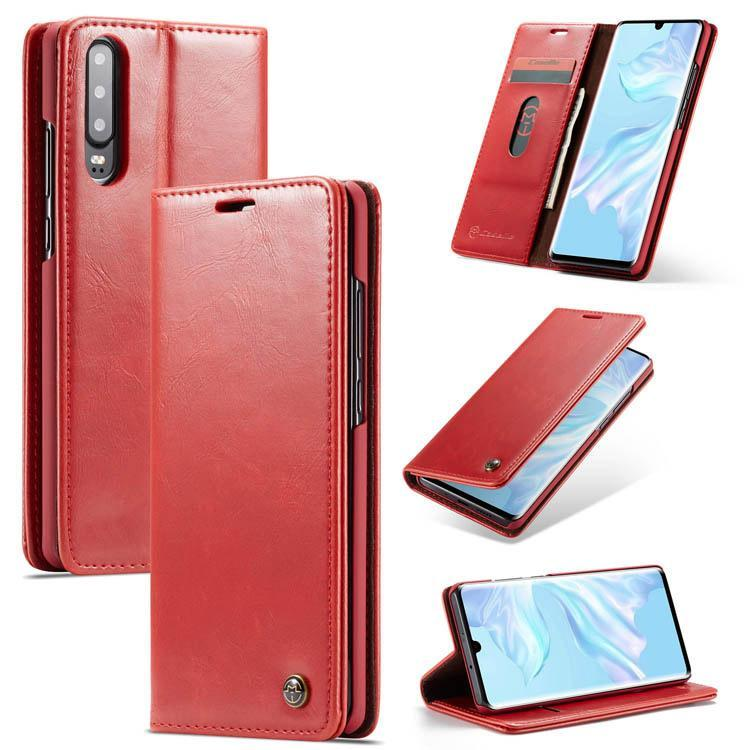 CaseMe Huawei P30 Wallet Stand Magnetic Flip PU Leather Case