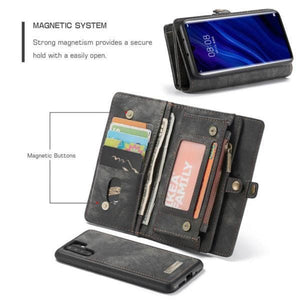 CaseMe Huawei P30 Pro Zipper Wallet Magnetic Folio Case Detachable 2 in 1 Back Cover
