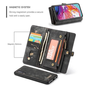 CaseMe Samsung Galaxy A70 Zipper Wallet Magnetic Case Detachable 2 in 1 Cover