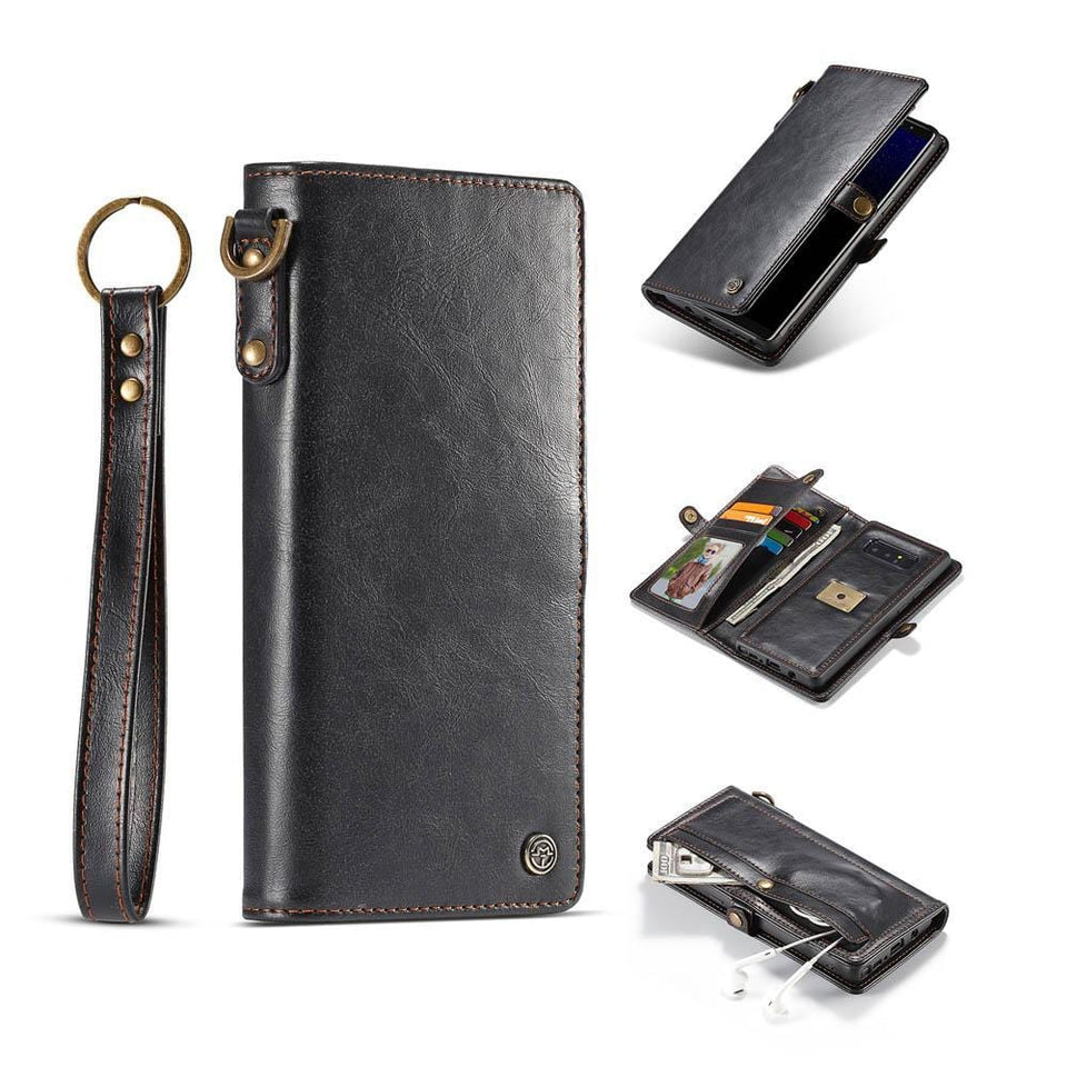 CaseMe Samsung Galaxy Note 8 Wallet Magnetic Case With Wrist Strap Detachable 2 in 1 Back Cover