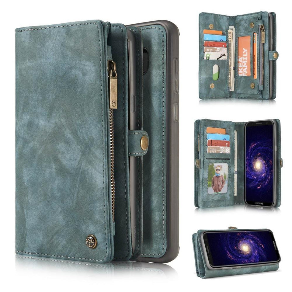 CaseMe Samsung Galaxy S8 Plus Zipper Wallet Magnetic Folio Case Detachable 2 in 1 Back Cover