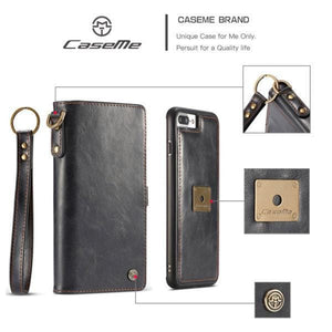 CaseMe iPhone  7 Plus/8 Plus Wallet Magnetic Case With Wrist Strap Detachable 2 in 1 Back Cover