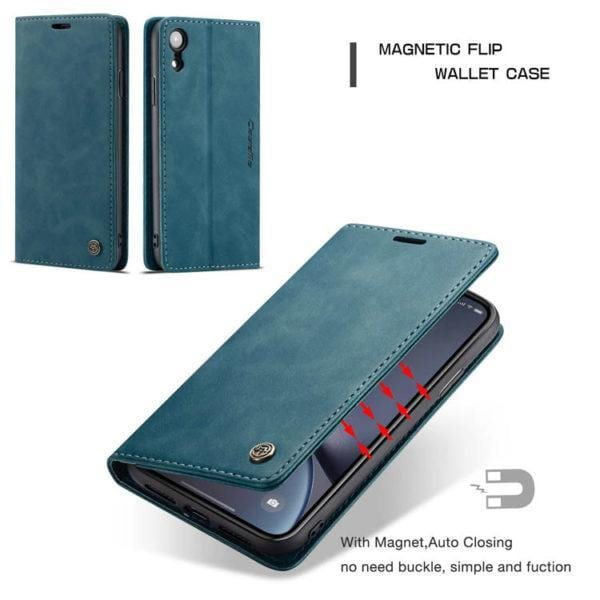 CaseMe iPhone XR Retro Wallet Kickstand Magnetic Flip Leather Case