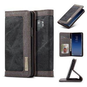 CaseMe Samsung Galaxy S9 Canvas Leather Wallet Stand Magnetic Flip Case