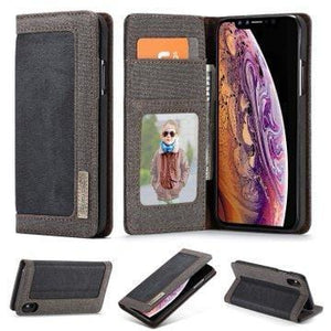 CaseMe iPhone XS Max Canvas Leather Wallet Stand Magnetic Flip Case