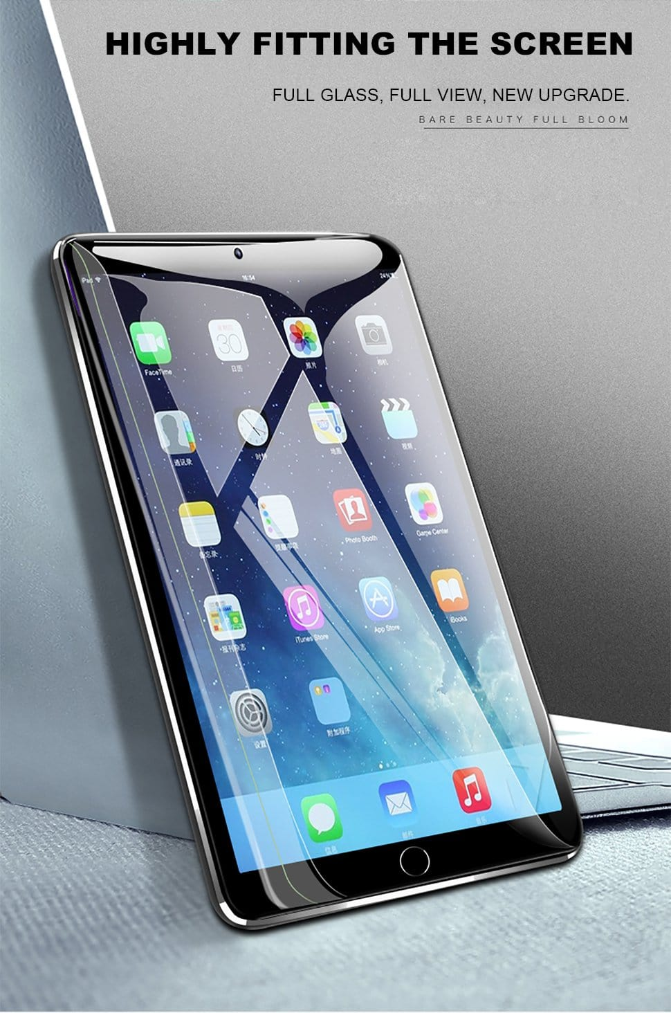 10D Full Cover Tempered Glass Film For IPAD air(2/3)pro(2016/2017/2018/11inch)WITH LOCATOR