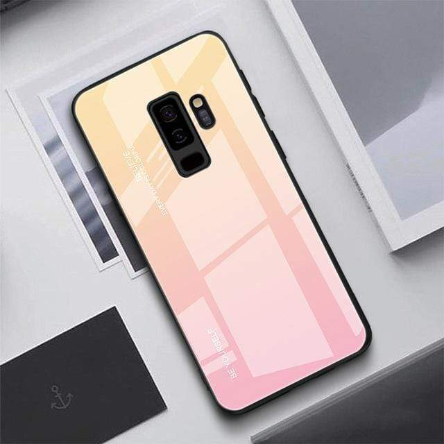 Gradient Tempered Glass Cover Back Phone Case For Samsung S9 S8 Plus Note 8 9