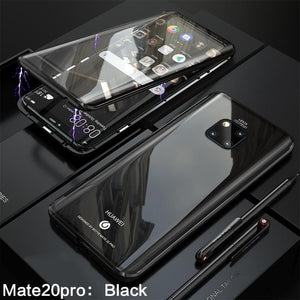 Luxury Magnetic Metal Aluminum Alloy Transparent Upgraded Version Two Side Glass Cover Phone Case For HUAWEI Mate20 Pro