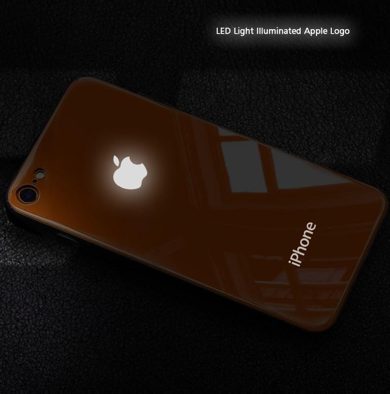 LED Light Illuminated Apple Logo 3D Designer Glass Case Back Cover For iPhone 7/8/7Plus/8Plus