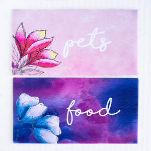 Editable Watercolor Floral Horizontal Cash Envelopes (Printable)