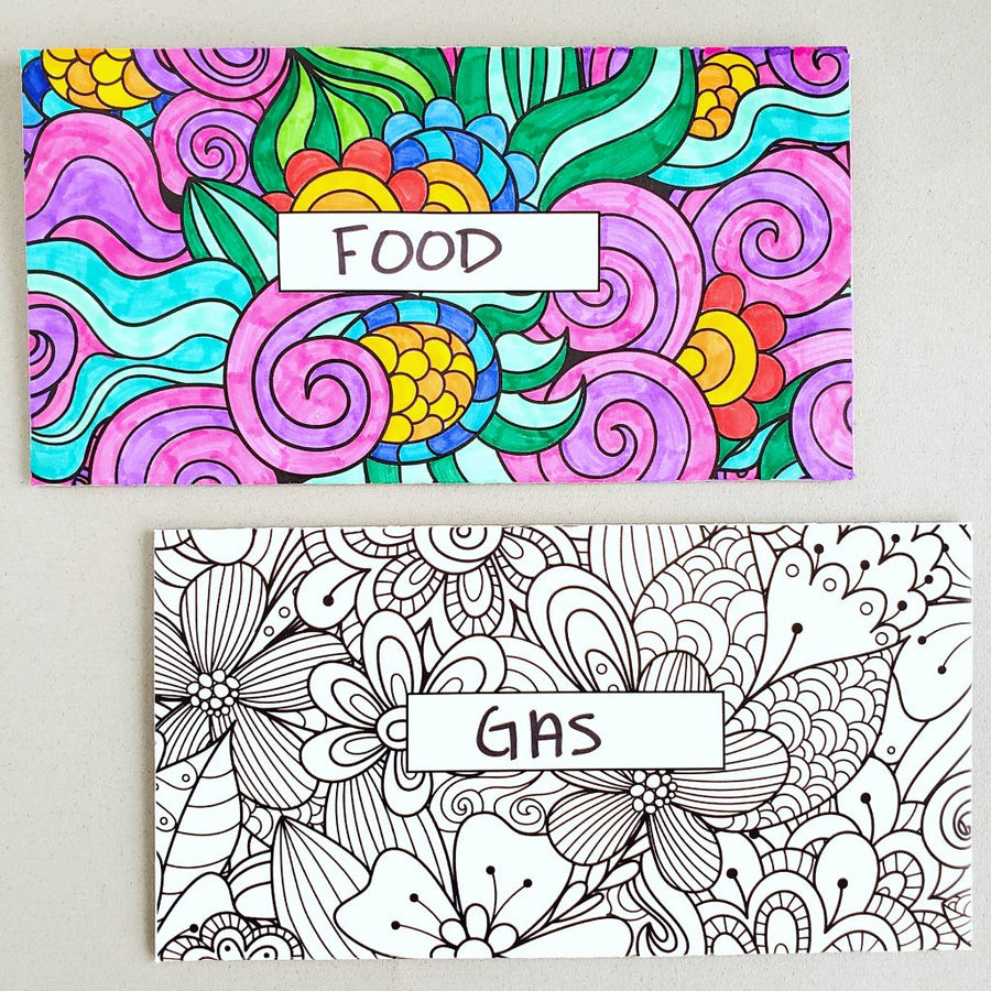 Coloring Design Horizontal Cash Envelopes (Printable)