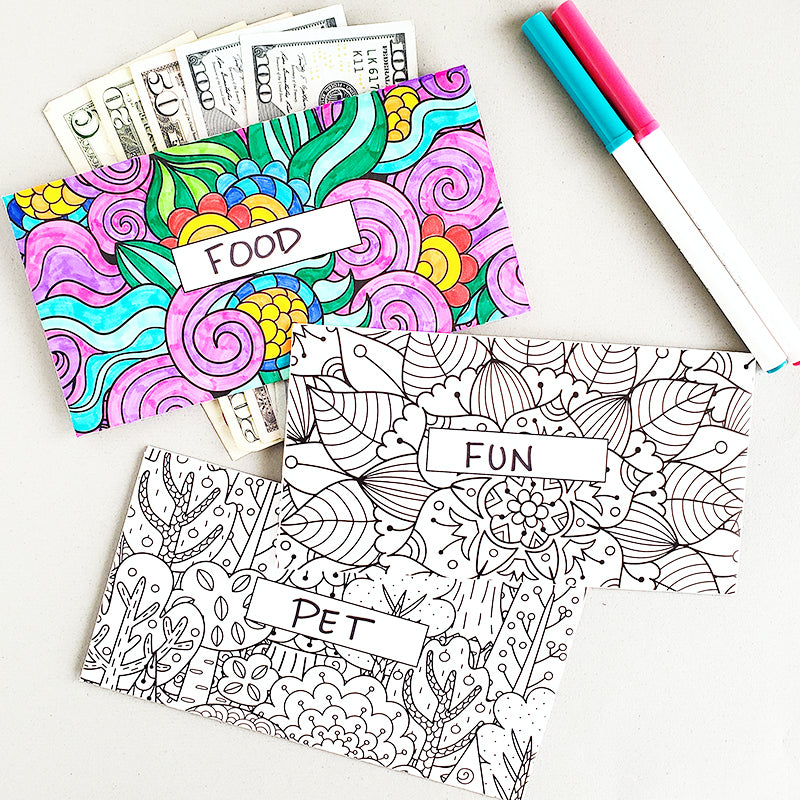 Adult Coloring Horizontal Cash Envelopes FEATURE 1