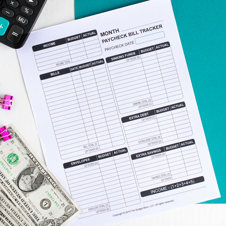 Paycheck Bill Tracker (Printable)