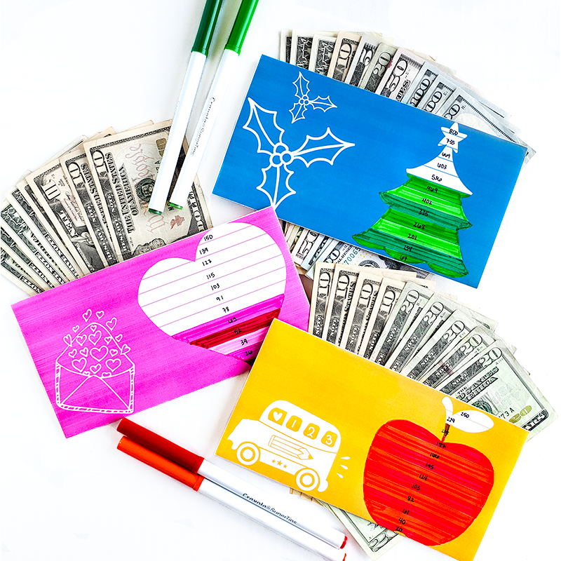 Horizontal Sinking Funds Cash Envelopes With Trackers (Printable)