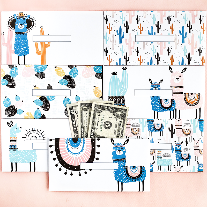 Llama Design Horizontal Cash Envelopes (Printable)