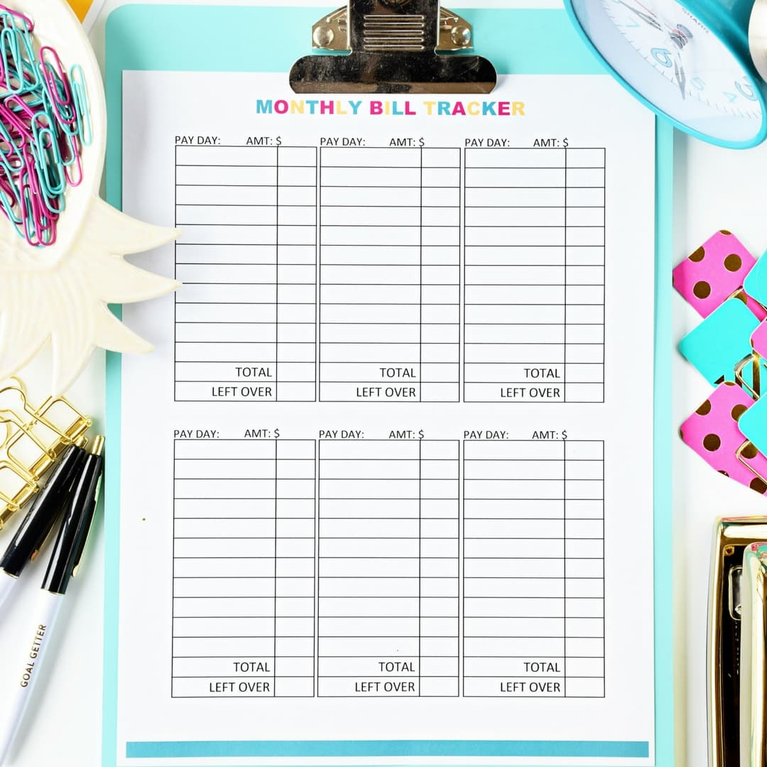 This is an image of Old Fashioned Free Printable Bill Tracker