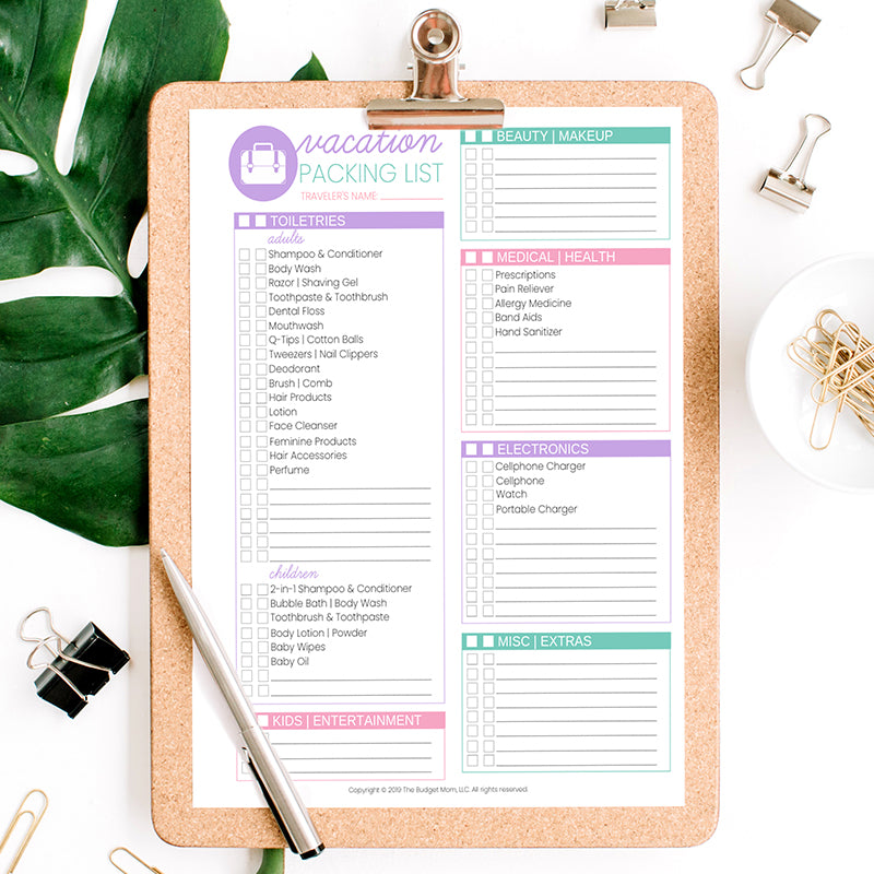 Vacation Budget Packing List Printables The Budget Mom
