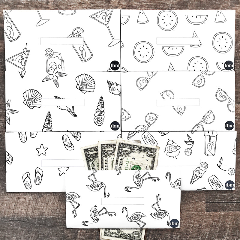 Summer Theme Horizontal Cash Envelopes (Printable)